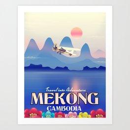 Mekong Cambodia vacation poster. Art Print
