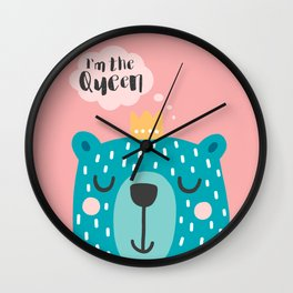 Cute Babies - I'm the queen Pink Wall Clock