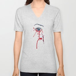 Blue eye with red paint Unisex V-Neck