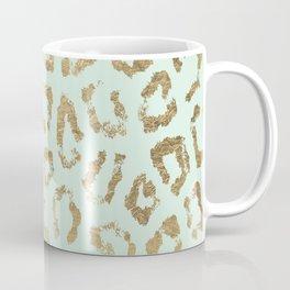 Elegant trendy neo mint gold cheetah animal print Coffee Mug
