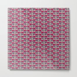 rows of Fans on deep coral Metal Print