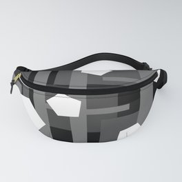 Black and Gray Rectangles Fanny Pack