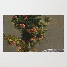 Henri Fantin Latour - Still Life With Vase Of Hawthorn Rug