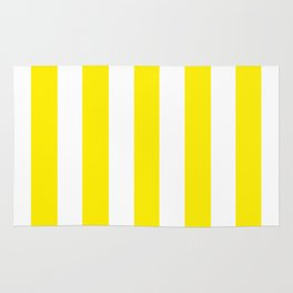 Canary yellow - solid color - white vertical lines pattern Rug
