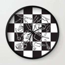 Kitchen Tools Checkerboard Wall Clock