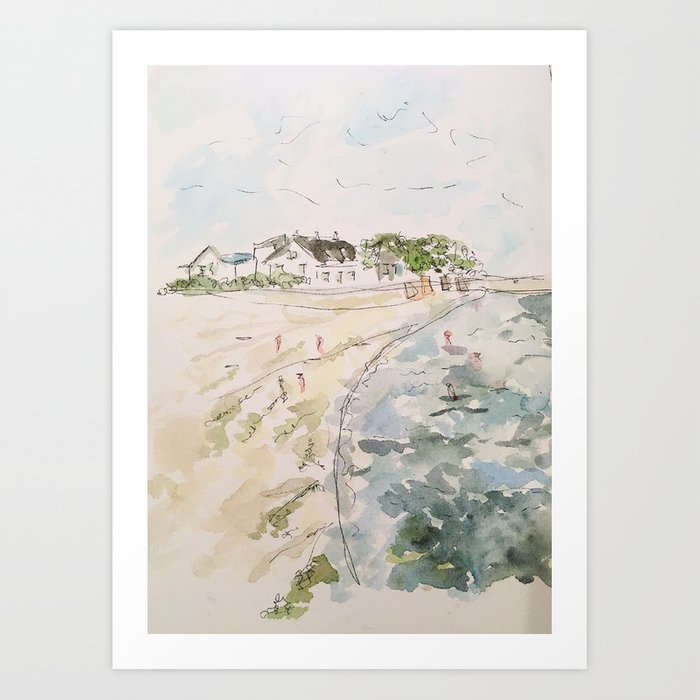 le pouliguen beach watercolor and ink painting Art Print