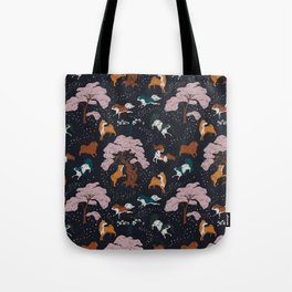 Cherry Blossom and Dog Dance Tote Bag