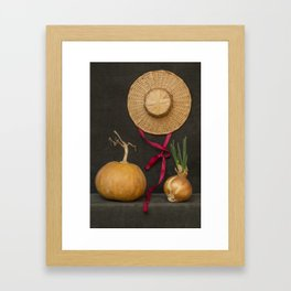 Still life with pumpkin, hat and sprouted onions Framed Art Print