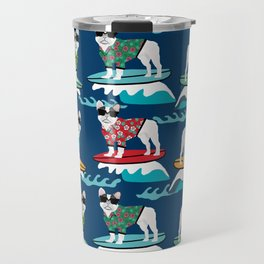 French Bulldog surfing pattern Travel Mug