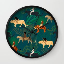 Women Riding Big Cats Wall Clock