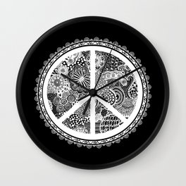 Zen Doodle Peace Symbol Black And White Wall Clock