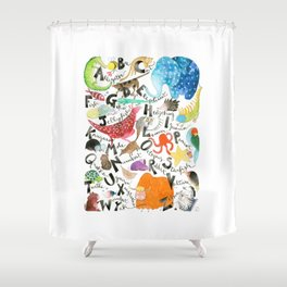 English Alphabet Shower Curtain