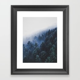 Foggy Blue Purple Mountain hill Pine Trees Landscape Nature Photography Minimalist Modern Art Framed Art Print
