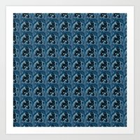 Blue Birds Pattern Art Print