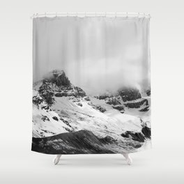 Mountain Minimalism Glacier Alberta | Black and White Photography Shower Curtain
