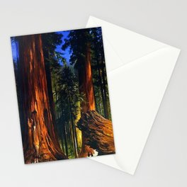 'Redwoods, Yosemite Forest' landscape painting by Gilbert Munger Stationery Cards