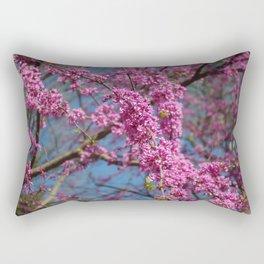 Blue skies and redbud in spring Rectangular Pillow