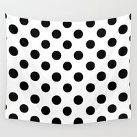 polkadot Wall Tapestries featuring Polka Dots (Black/White) by 10813 Apparel