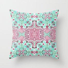 Vibrant floral mandala Throw Pillow