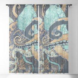 Metallic Octopus II Sheer Curtain