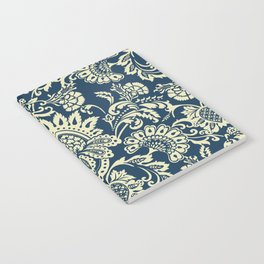 damask in white and blue vintage Notebook