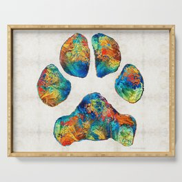 Colorful Dog Paw Print by Sharon Cummings Serving Tray