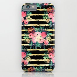 Pretty Pink Flowers Paint Gold Stripes Pattern iPhone Case