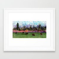 chicago bulls Framed Art Prints featuring Chicago Skyline and Bulls In Pasture by Jen Hynds