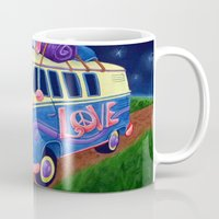 hippie Mugs featuring Hippie Van by whiterabbitart