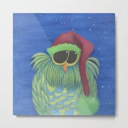 Ernesto the Secret Santa Owl Metal Print