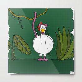 Eglantine la poule (the hen) dressed up as a pink panther Metal Print