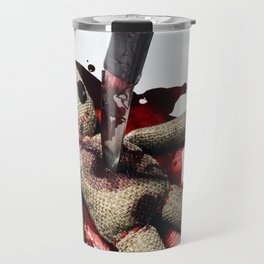 Sack Voodoo doll and bloody knife Travel Mug