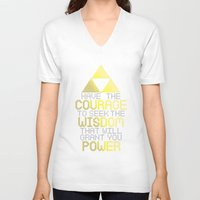motivational V-neck T-shirts featuring Triforce Motivational by JesseThomas