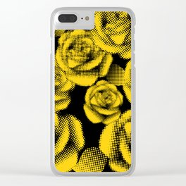 Yellow Halftone Roses Clear iPhone Case