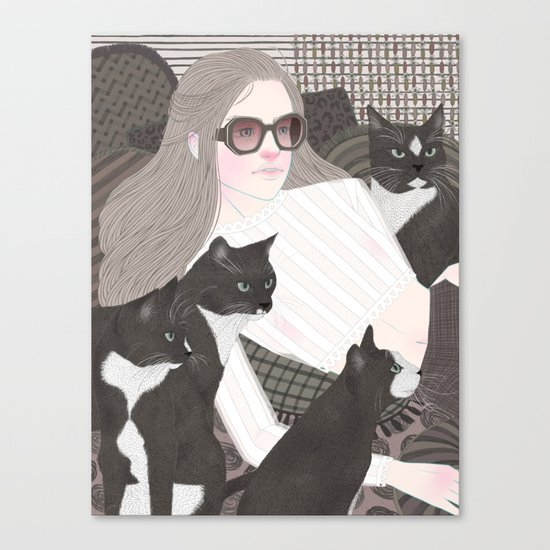 Hey there kitty! GREY Canvas Print