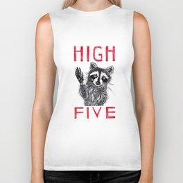 Raccoon High Five  Biker Tank