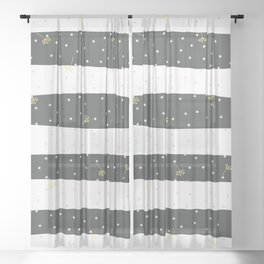 Yellow flying dandelion seeds simple Christmas seamless pattern and Grey Pastel Confetti on Balck and white Stripes Background Sheer Curtain