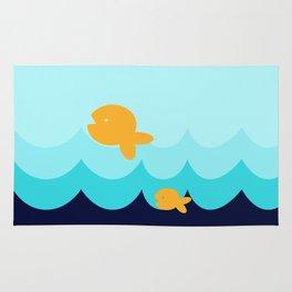 Beach Series Aqua- Gold Fish Animals in the deep See Rug
