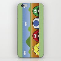 mario bros iPhone & iPod Skins featuring Mario Bros by Bazingfy