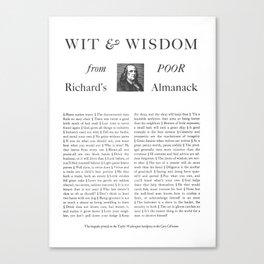 Wit & Wisdom from Poor Richard's Almanack Canvas Print