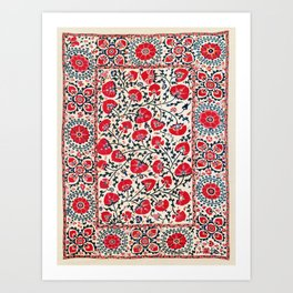 Shakhrisyabz Suzani Uzbekistan Embroidery Print Art Print