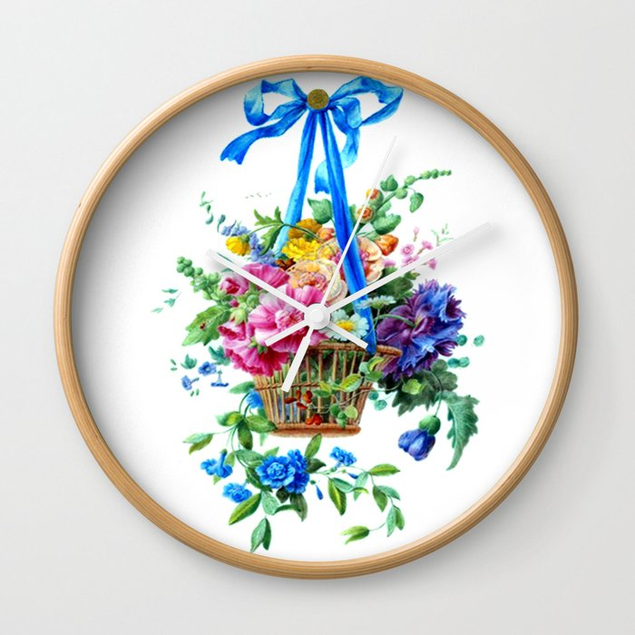 watercolor Girly Cute Floral arrangement Wall Clock