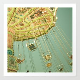 Swingin' IV Fair Carnival Swings Ride Amusement Park Rainbow Whimsical Fun Art Print
