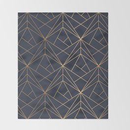 Navy blue Gold Geometric Pattern With White Shimmer Throw Blanket