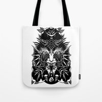 demon Tote Bags featuring Demon by MIRKOW GASTOW