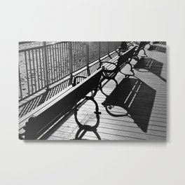 Beachy Benches Metal Print