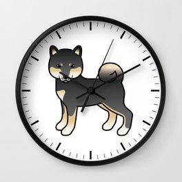 Black And Tan Shiba Inu Cute Cartoon Dog Wall Clock