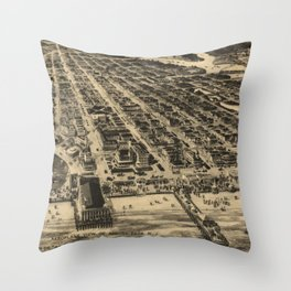 Vintage Pictorial Map of Asbury Park NJ (1910) Throw Pillow