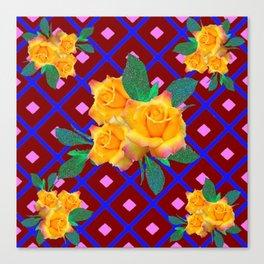 Triple Golden Rose Bouquet Purple-Blue Art Canvas Print