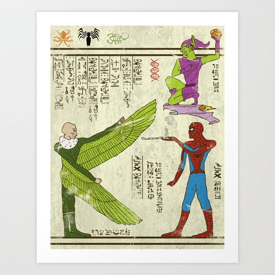 Hero-glyphics: Web-Slinger  Art Print